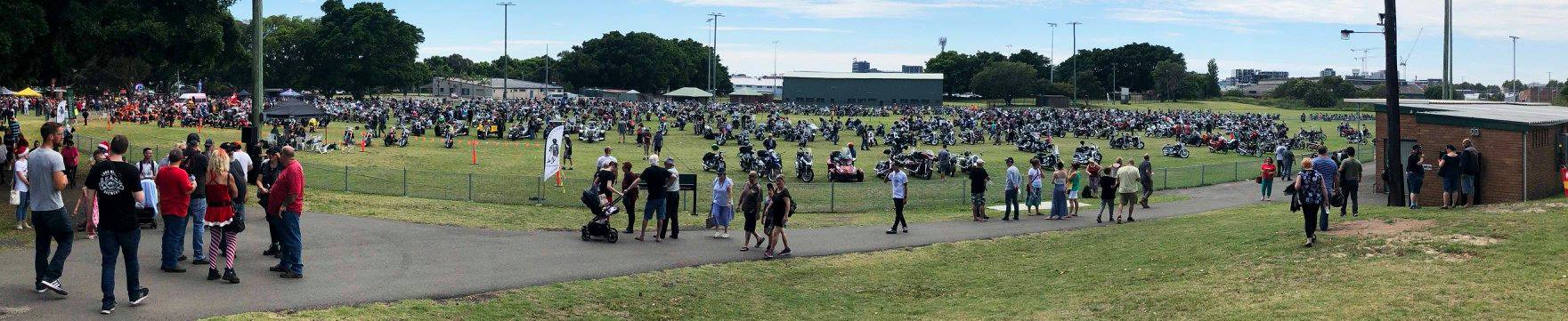 Field full of motorbikes at Newcastle Toy Run 2018